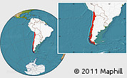 Satellite Location Map of Chile, highlighted continent