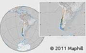 Satellite Location Map of Chile, lighten, desaturated