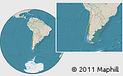 Satellite Location Map of Chile, lighten, land only