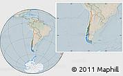 Satellite Location Map of Chile, lighten