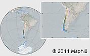 Satellite Location Map of Chile, lighten, semi-desaturated