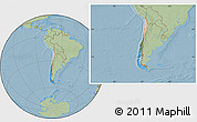 Satellite Location Map of Chile, savanna style outside, hill shading