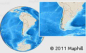 Satellite Location Map of Chile, shaded relief outside