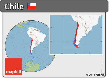 Free Savanna Style Location Map Of Chile Highlighted Continent - Chile location