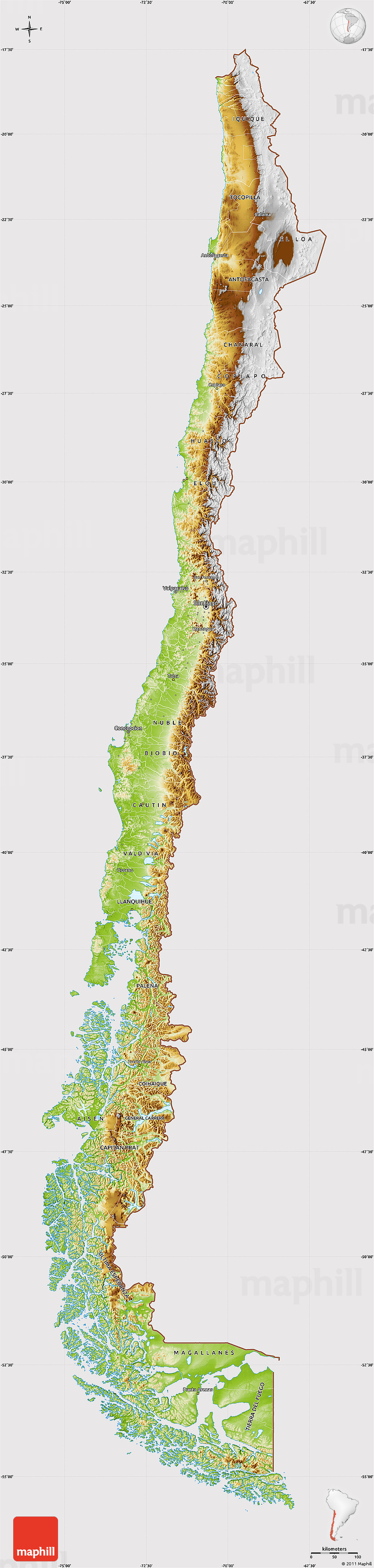 Physical Map of Chile cropped outside
