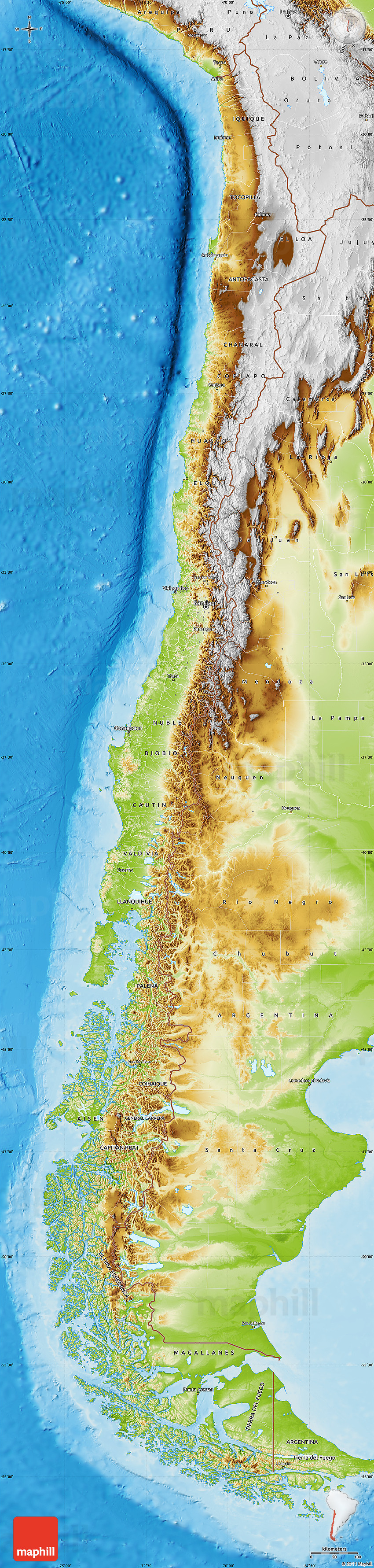 Physical Map of Chile