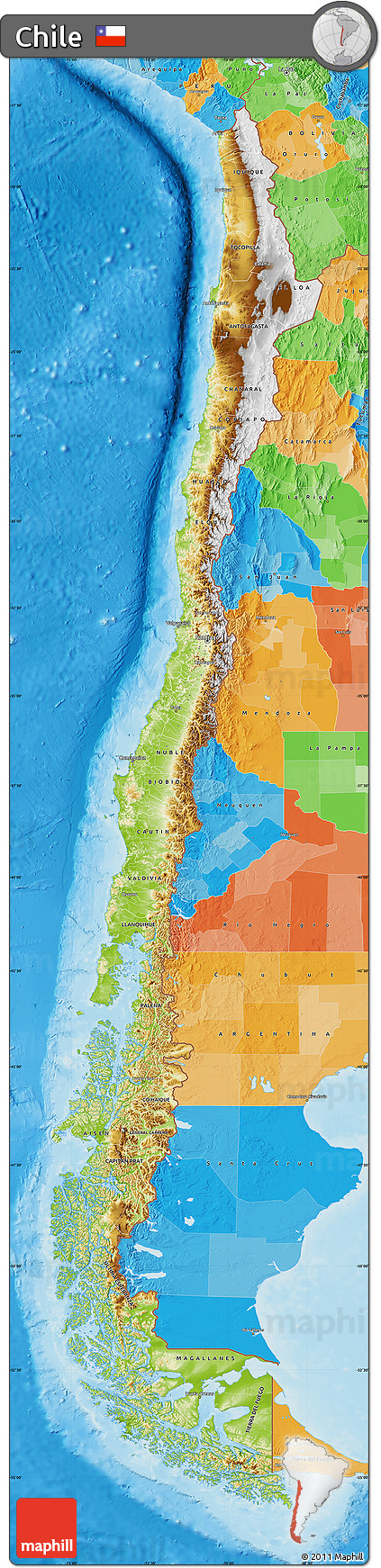 Free Physical Map Of Chile Political Outside Shaded Relief Sea - Chile physical map