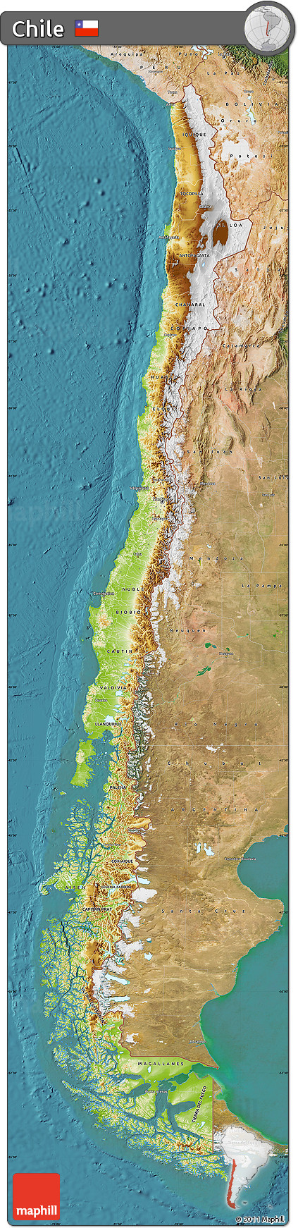 Free Physical Map of Chile satellite outside