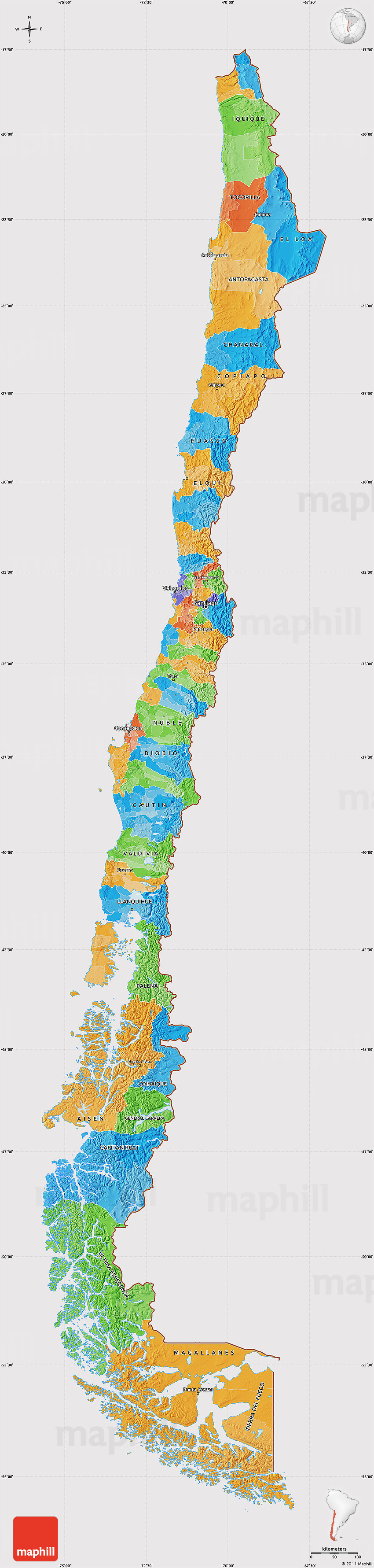 Political Map Of Chile Cropped Outside