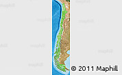 Political Shades Map of Chile, satellite outside, bathymetry sea