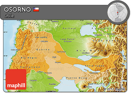 Free Political Shades Map Of OSORNO Physical Outside - Osorno map