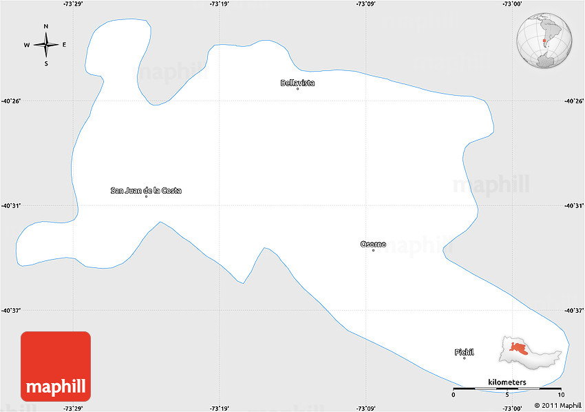 Silver Style Simple Map Of Osorno Single Color Outside - Osorno map