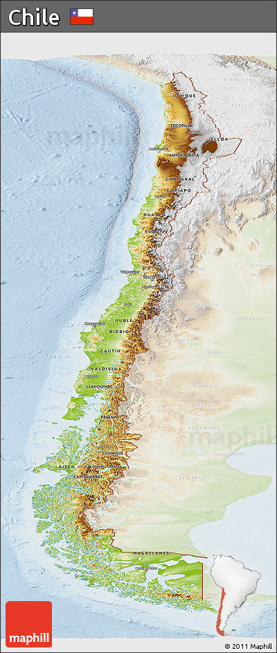 Free Physical Panoramic Map Of Chile Lighten - Chile physical map