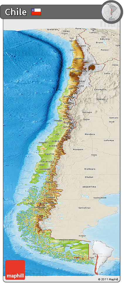Free Physical Panoramic Map Of Chile Shaded Relief Outside - Chile physical map