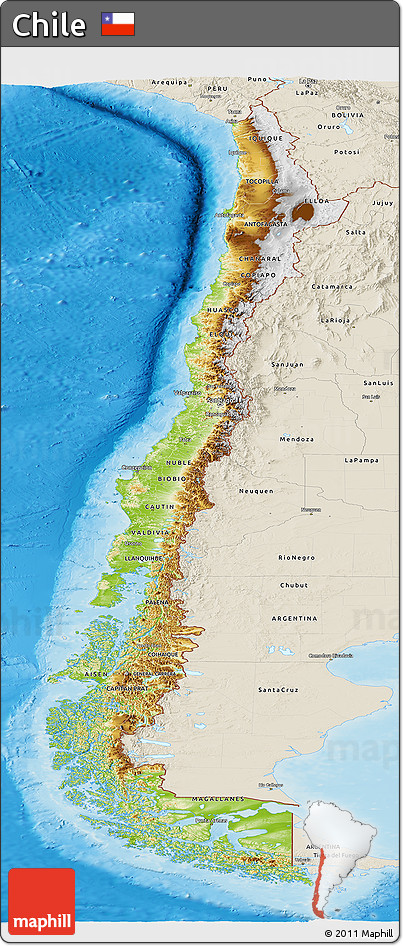 Free Physical Panoramic Map of Chile shaded relief outside