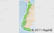 Political Shades Panoramic Map of Chile, lighten