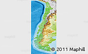 Political Shades Panoramic Map of Chile, physical outside