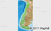 Political Shades Panoramic Map of Chile, satellite outside, bathymetry sea