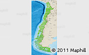 Political Shades Panoramic Map of Chile, shaded relief outside, bathymetry sea