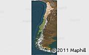 Satellite Panoramic Map of Chile, darken