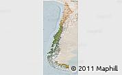 Satellite Panoramic Map of Chile, lighten