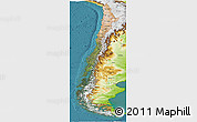 Satellite Panoramic Map of Chile, physical outside, satellite sea