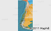 Satellite Panoramic Map of Chile, political shades outside, satellite sea