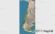 Satellite Panoramic Map of Chile, semi-desaturated, land only