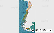 Satellite Panoramic Map of Chile, single color outside