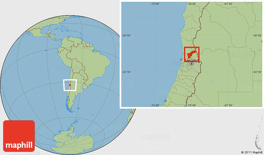 Savanna Style Location Map of SAN FELIPE DE ACONCAGUA