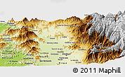 Physical Panoramic Map of SANTIAGO