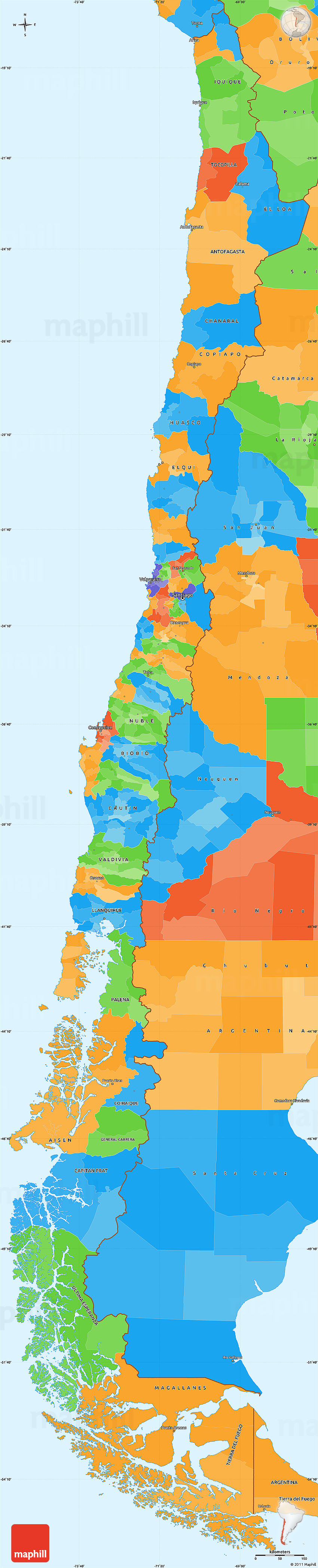 Political Simple Map Of Chile - Map of chile