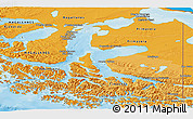 Political Shades Panoramic Map of TIERRA DEL FUEGO