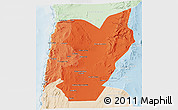 Political Shades 3D Map of TOCOPILLA, lighten
