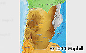Physical Map of TOCOPILLA, political shades outside