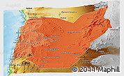 Political Shades Panoramic Map of TOCOPILLA, physical outside