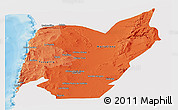 Political Shades Panoramic Map of TOCOPILLA, single color outside