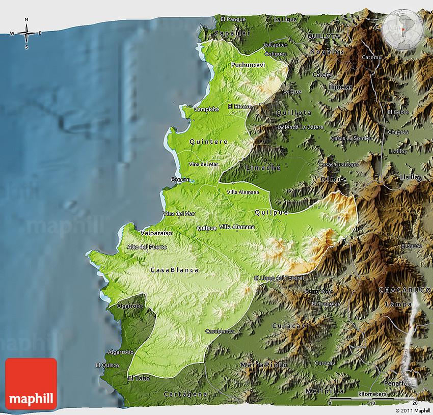 Physical 3D Map of VALPARAISO darken