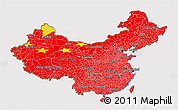 Flag 3D Map of China, flag rotated