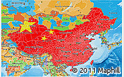 Flag 3D Map of China, political outside