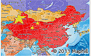 Flag 3D Map of China, political shades outside