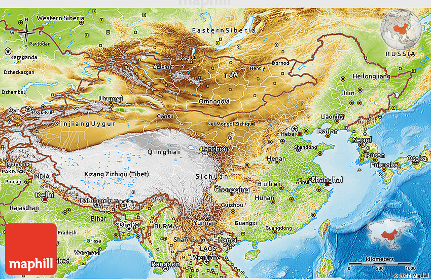 Physical 3D Map of China