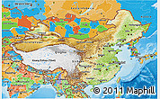 Physical 3D Map of China, political outside, shaded relief sea