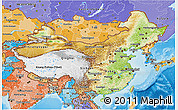 Physical 3D Map of China, political shades outside, shaded relief sea