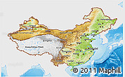Physical 3D Map of China, single color outside