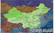 Political Shades 3D Map of China, darken