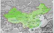 Political Shades 3D Map of China, desaturated