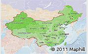 Political Shades 3D Map of China, lighten