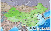 Political Shades 3D Map of China, semi-desaturated, land only