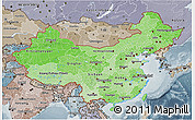 Political Shades 3D Map of China, semi-desaturated